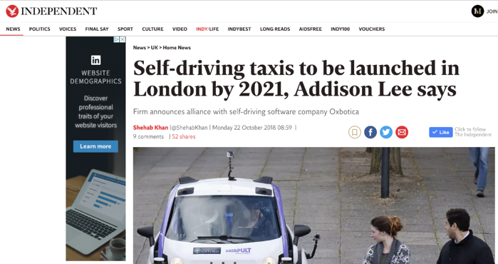 self-driving taxis to be launched in london in 2021